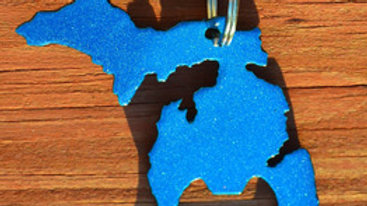 Michigan Metallic Blue Keychain Bottle Opener