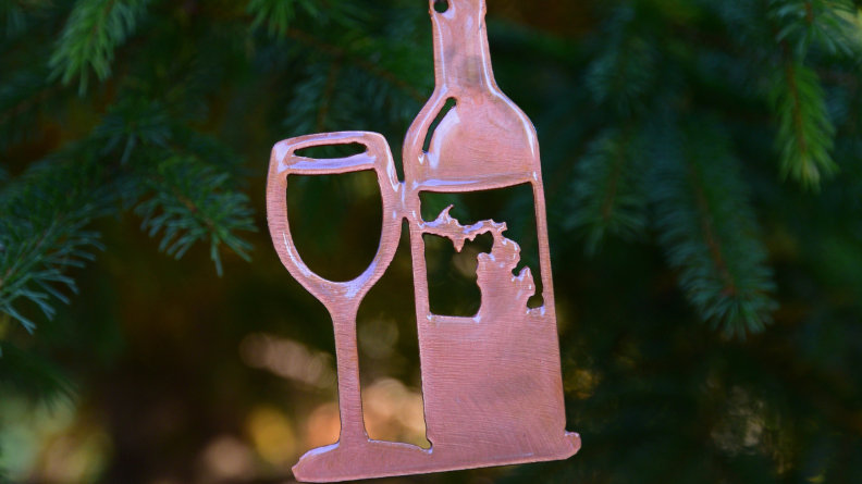 Wine Bottle & Glass Ornament