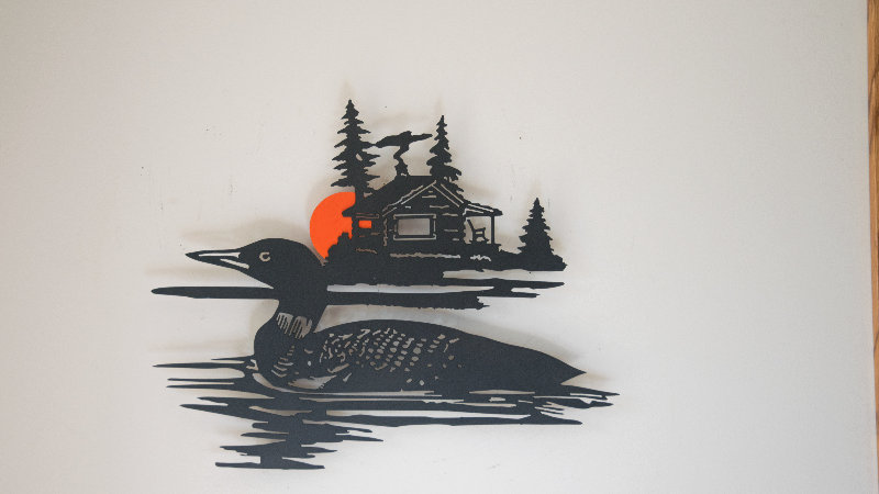 Magnificent Loon and cabin wall art