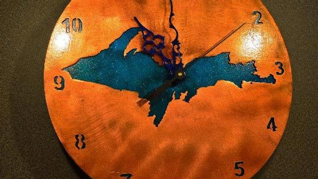 Upper Peninsula Copper Patina Clock