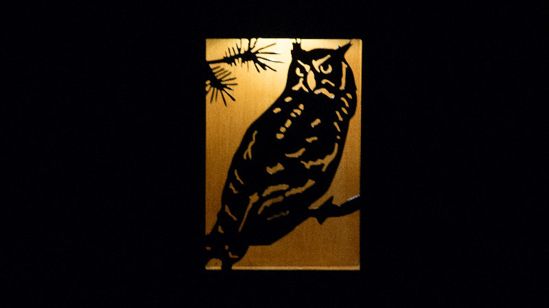 "Owl solar light box 12"" x 9"""