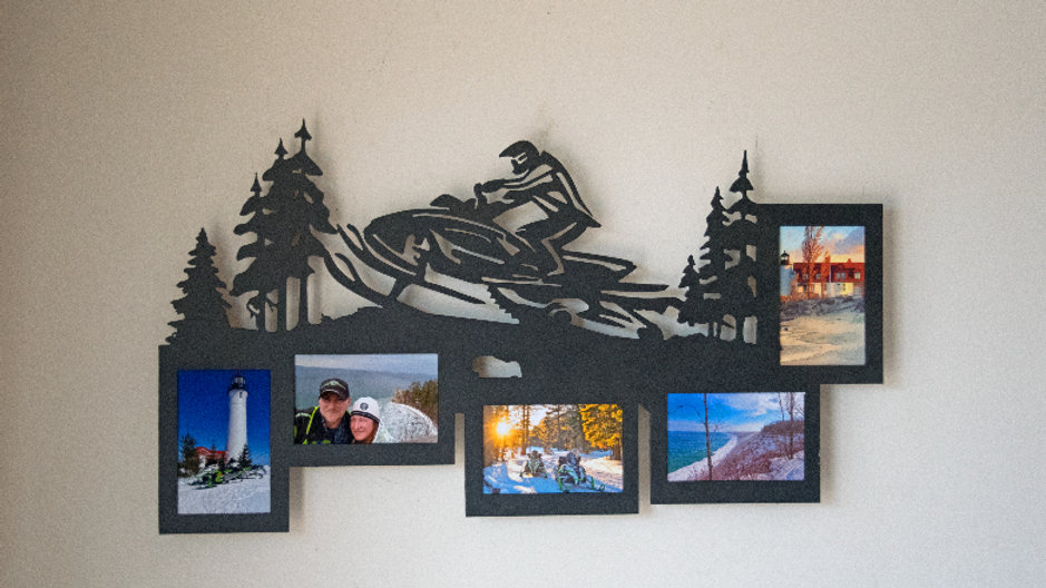 Snowmobiler 5 photo picture frame wall hang