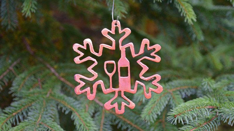 Snowflake & Wine Ornament
