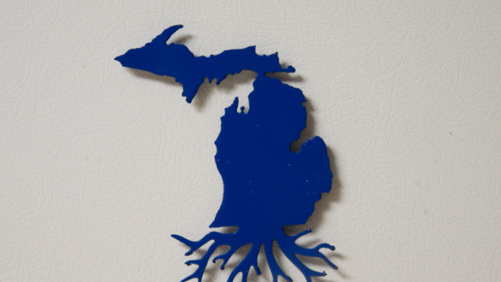 Michigan roots magnet metallic blue
