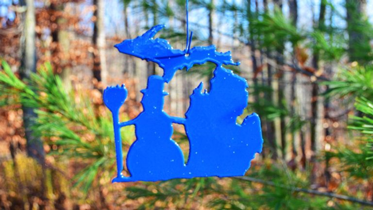 Michigan & Snowman Ornament