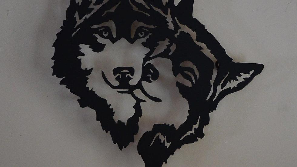 Dual Wolf Head Wall Hanging