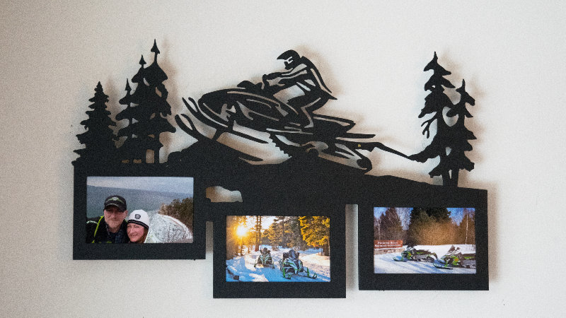 Snowmobiler 3 photo picture frame wall hang