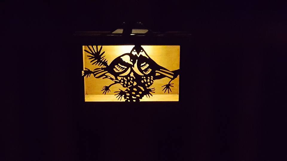 "Chicadees and pine 12"" x 9"" solar light box"