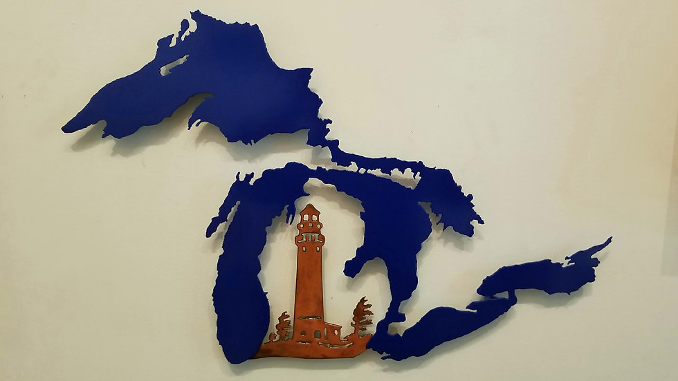 Great Lakes wall hang with lighthouse