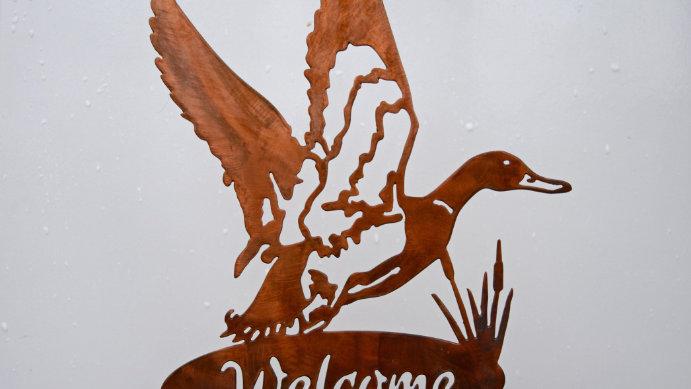 Welcome Mallard garden stake