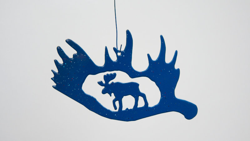 Moose in antler ornament-metallic blue