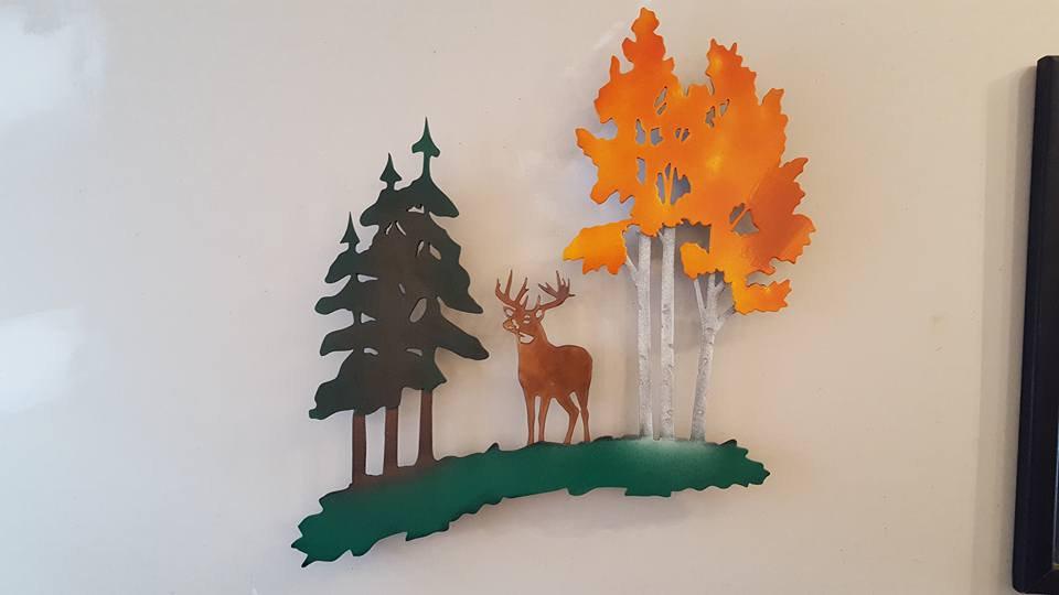 Birch, pines and buck wall art