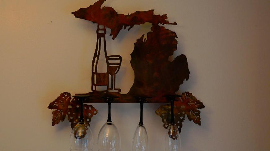 Michigan Wine Rack Wall Hanging