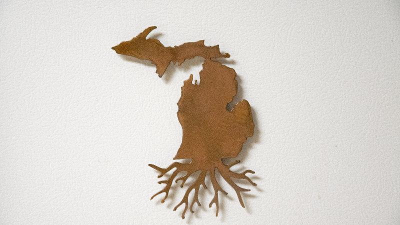 Michigan roots magnet rustic copper