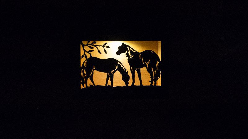 "Horses grazing solar light box 12"" x 9"""