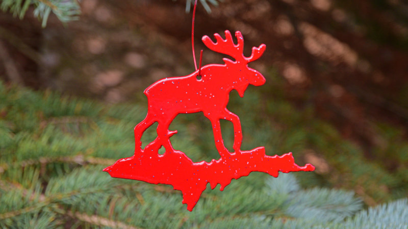 Moose & U.P. Ornament (Red)