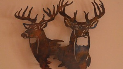 Dual Bucks Rustic Copper Wall Hanging