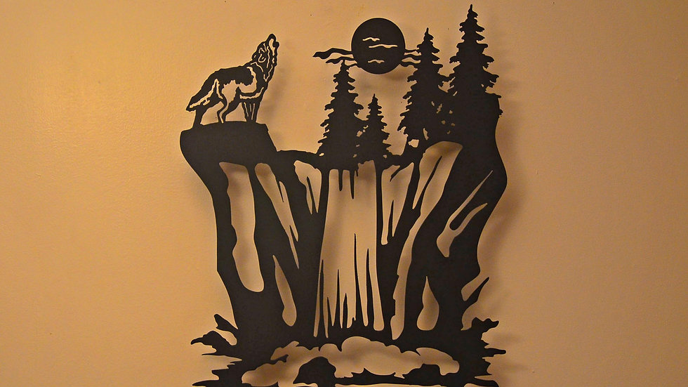 Howling Wolf & Waterfall Wall Hanging