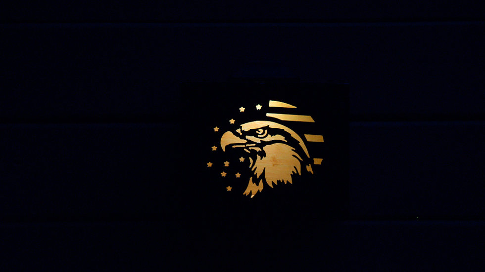 "Eagle and flag solar light box 9"" x 7"""