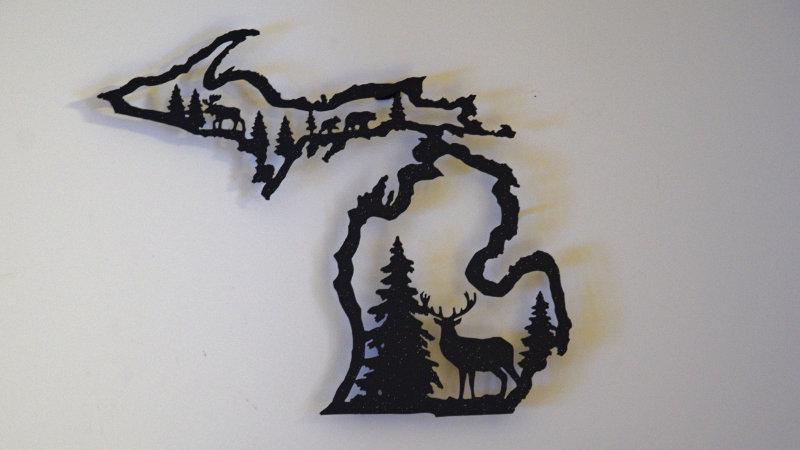 Michigan Center-Cut Wall Art with buck.