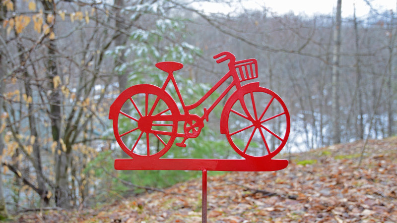 Old bicycle garden stake