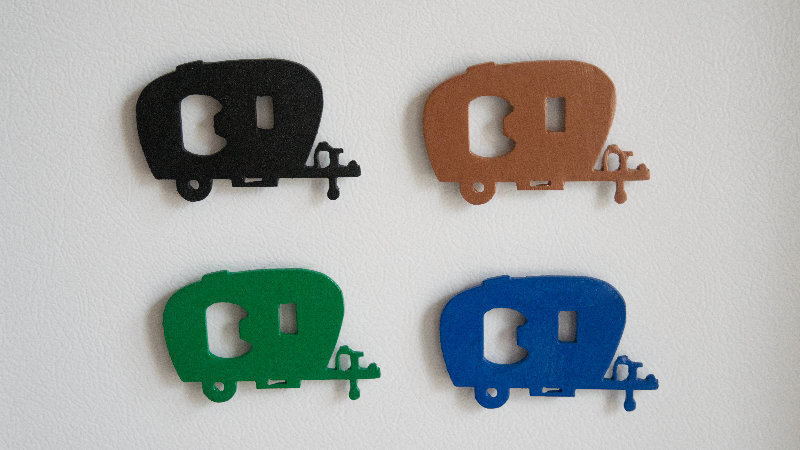 Camper bottle opener magnet
