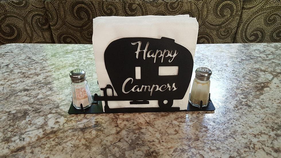 Happy camper napkin, salt and pepper holder