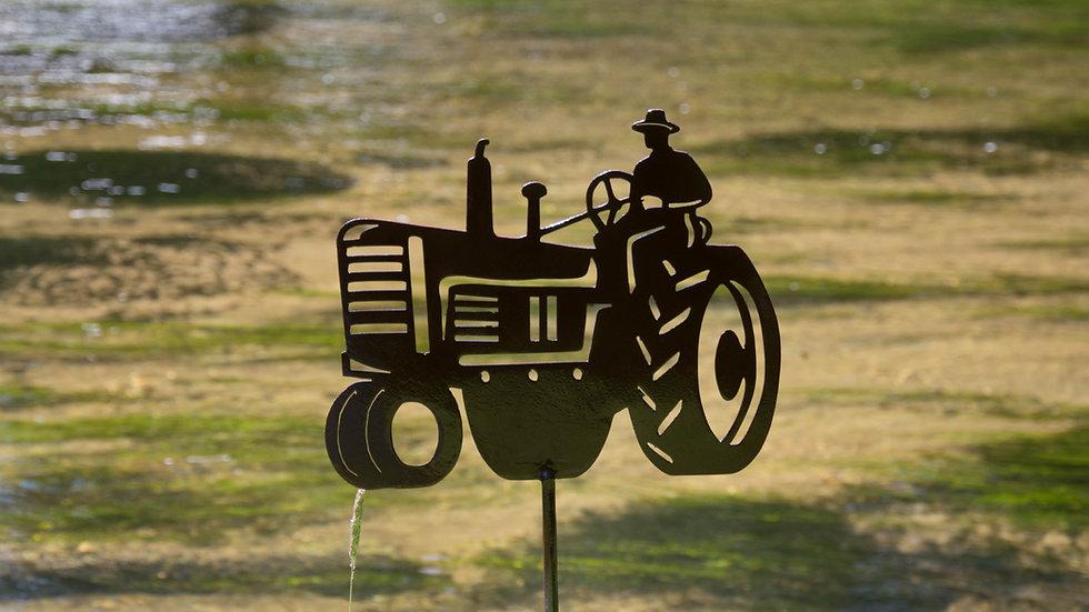 Tractor Man Garden Stake