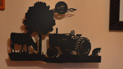 Tractor on the Farm Scene Wall Hanging
