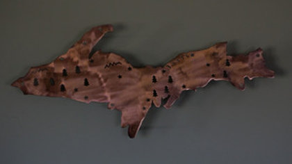 Upper Peninsula Copper Patina Map Wall Hanging