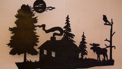 Moose & Cabin Wall Hanging