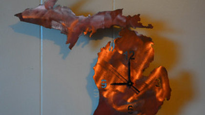 Michigan Copper Patina Clock
