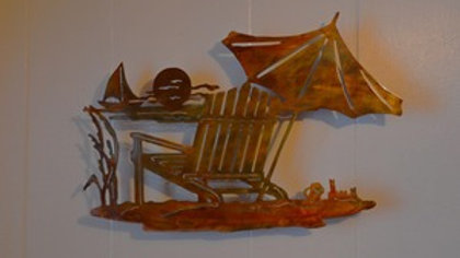 Sunset & Beach Chair Copper Patina Wall Hanging
