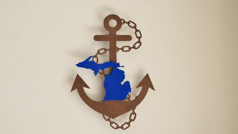 Nautical Michigan Anchor Wall Hanging