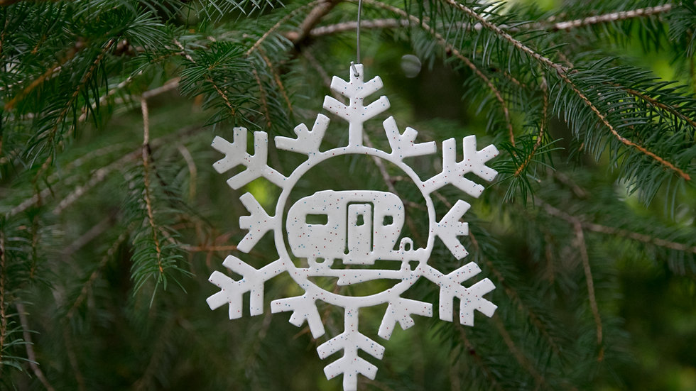 Cozy camper snowflake ornament