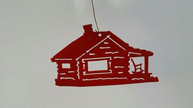 Log cabin ornament-metallic red