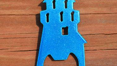 Lighthouse Metallic Blue Keychain Bottle Opener