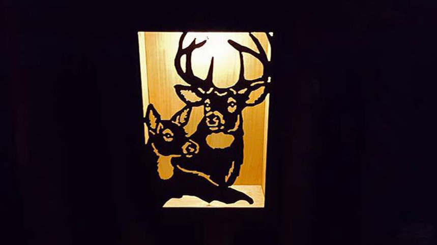 "Buck and doe solar light box 12"" x 9"""