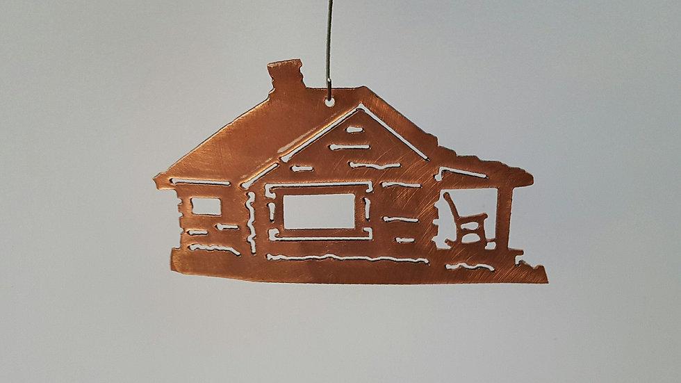 Log Cabin Ornament - Copper Patina
