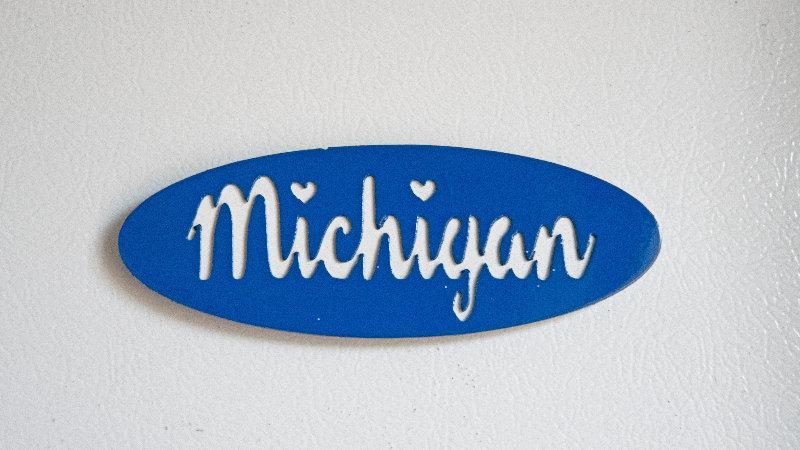 Michigan Cursive Magnet