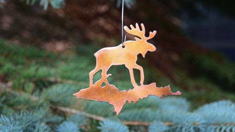 Moose & U.P. Ornament (Copper Patina)