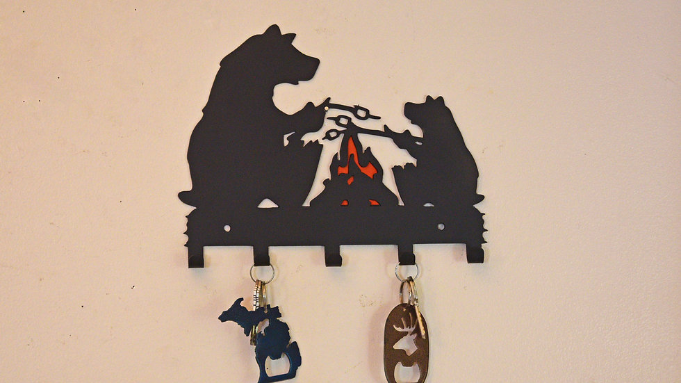 Bears Roasting Marshmallows Keychain Holder