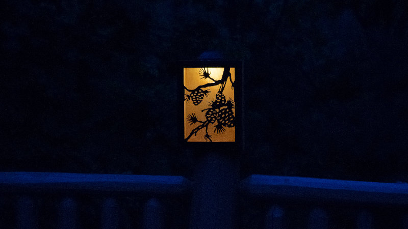 "Pine bough and cones solar light box 12"" x 9"""