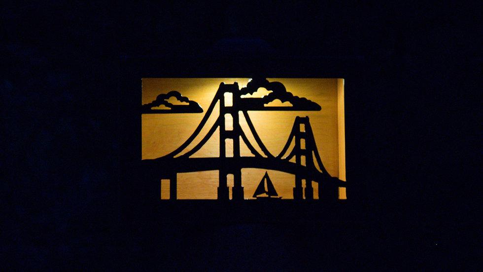 """Mackinac bridge solar light box 12"""" x 9"""""""
