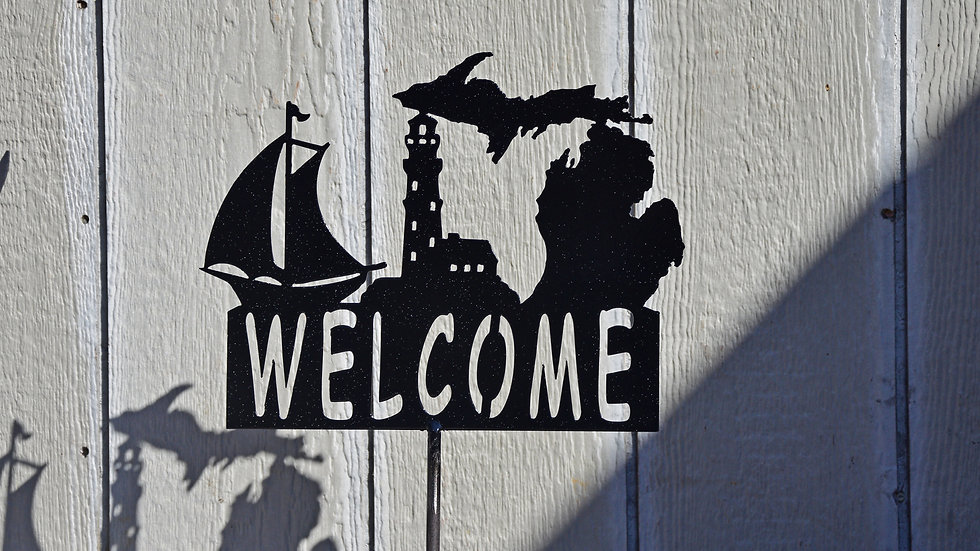 """Welcome"" Sailing Michigan Garden Stake"