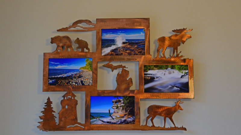 Michigan Quad Photo Frame Rustic Copper