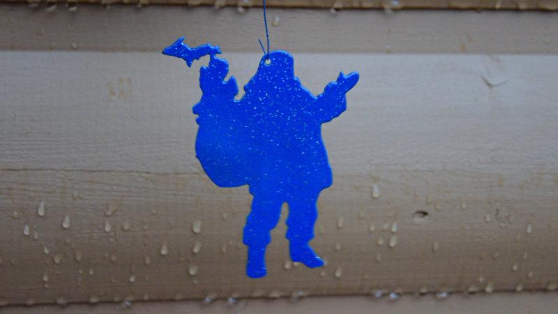 Santa Delivers Michigan Ornament (Blue)