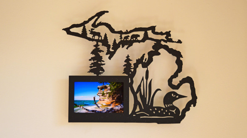 Michigan with Loon 4x6 picture frame- wall hang