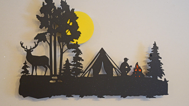 Full moon camping scene