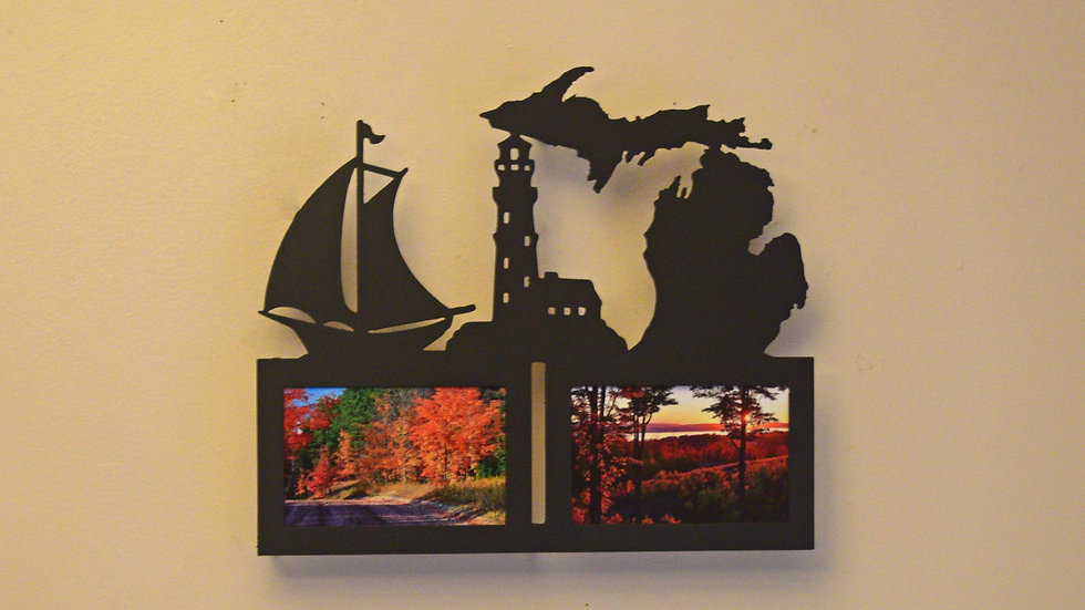 4 x 6 Michigan w/ Lighthouse & Boat Picture Frame